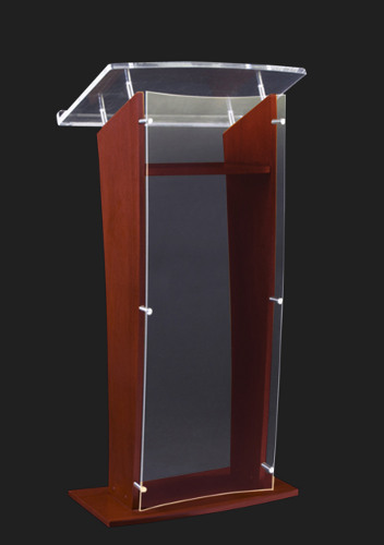 Sn3500 Wood And Acrylic Floor Lectern Frosted Acrylic Podium And