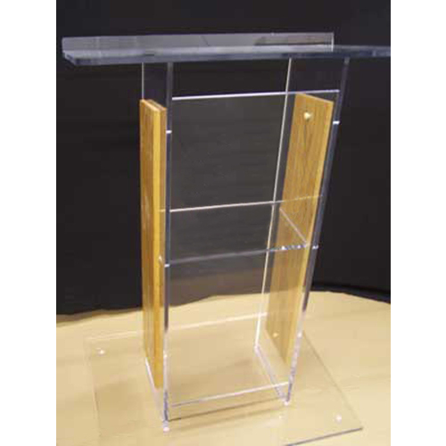 Clear Acrylic and Wood Floor Lectern