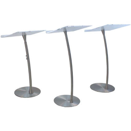 acrylic steel column arc lectern stylish metal and acrylic contemporary arc design on three new floor standing lecterns from amplivox
